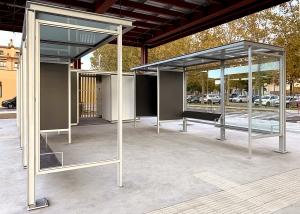 La Bisbal d'Empordà bus station toilet kiosk canopy